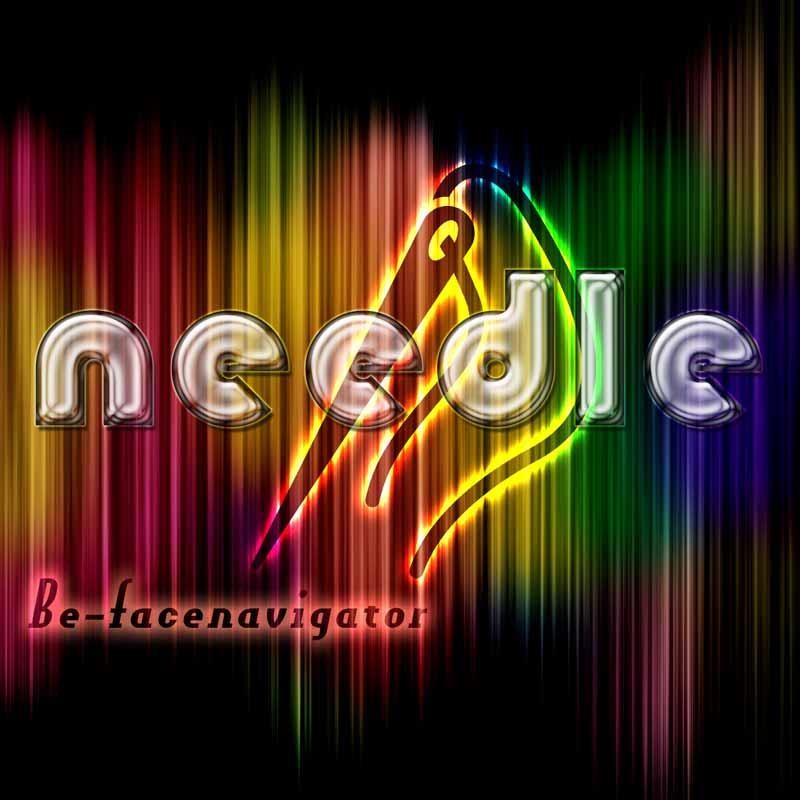 needleと書いたガラス風のテキストエフェクト
