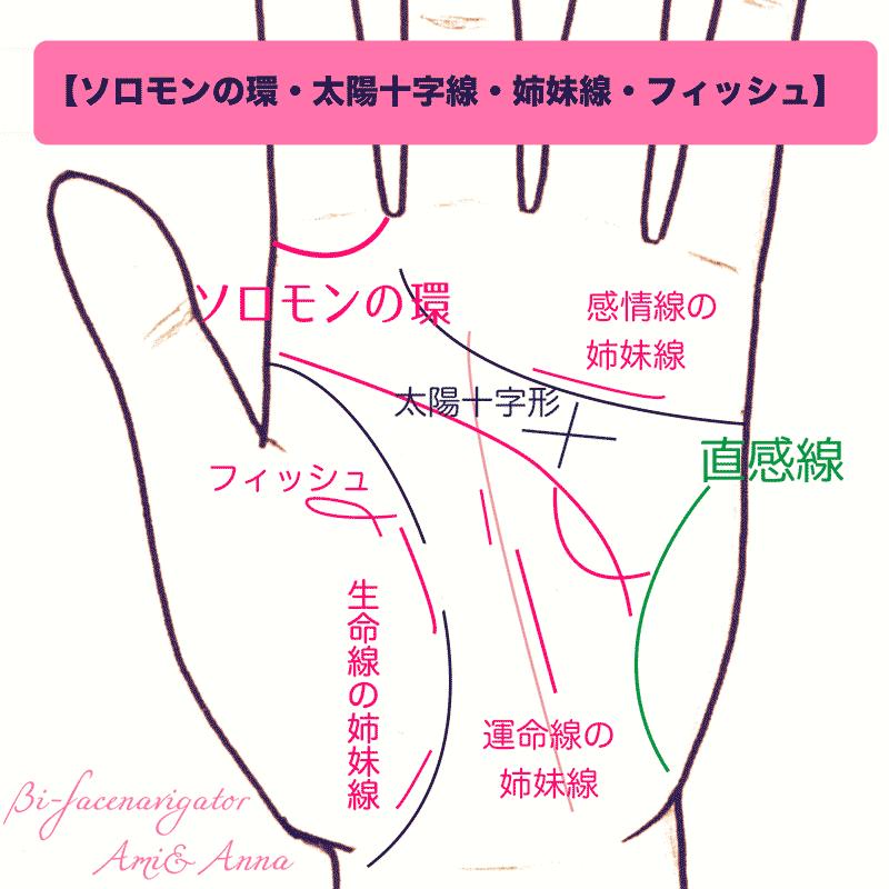 手相のソロモンの環、太陽十字線、姉妹線、フィッシュ、直感線、寵愛線、フィッシュ、フォークの一覧
