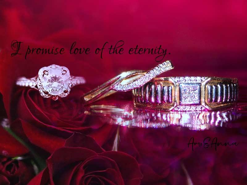 ダイヤモンドの指輪3本と赤い薔薇の合成画像