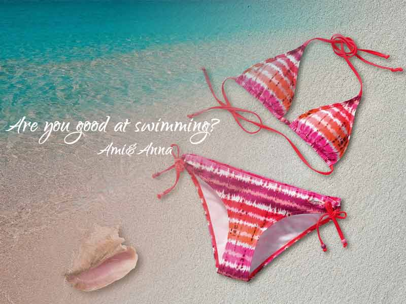 海とピンクのビキニの合成画像
